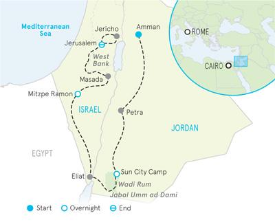 Israel & Jordan  Family Walking & Hiking Tour - Older Teens & 20s map