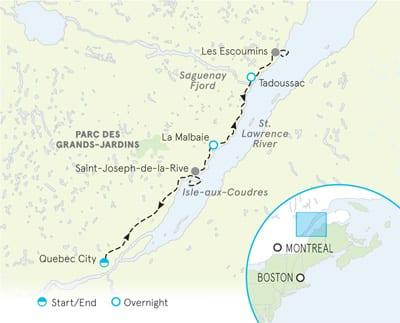Quebec Family Multi-Adventure tour Map