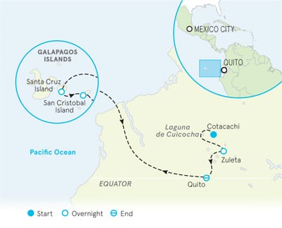 Ecuador and Galapagos family trip map