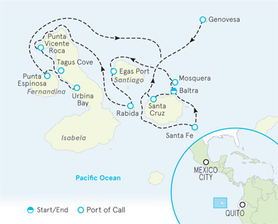 Galapagos Ocean Cruise Map