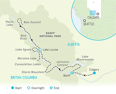 Backroads Canadian Rockies Family Bike Tour - 20s & Beyond Map