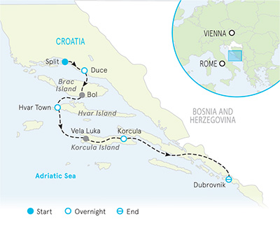 Dalmatian Coast Croatia Map