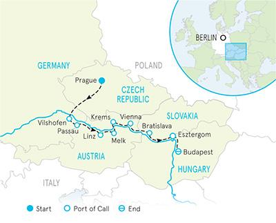 Danube River Cruise Family Full Ship Celebration Bike Tour Map