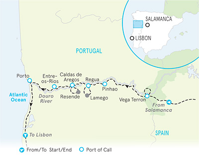 Portugal's Douro River Cruise Family Bike Tour - 20s & Beyond Map