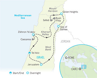 Israel Bike Tour Map
