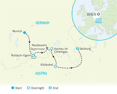Munich to Salzburg Family Bike Tour - Older Teens & 20s map