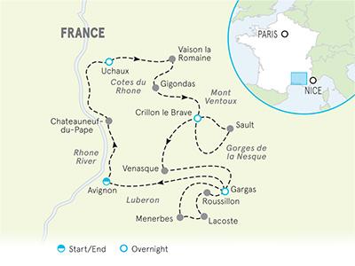 Provence Bike Tour Map