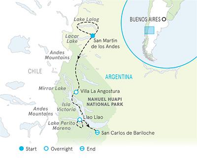 Argentina Lake District Multi-Adventure Adventure Tour Map