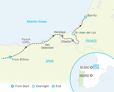 Basque Country Multi-Adventure Adventure Tour Map