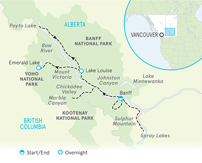 Canadian Rockies Multi-Adventure Tour Map