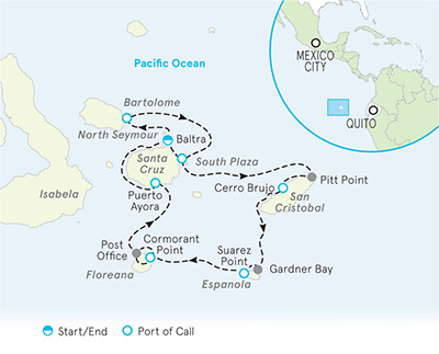 Galapagos Ocean Cruise Map