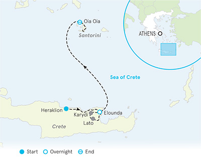 Santorini & Crete Multi-Adventure Tour Map