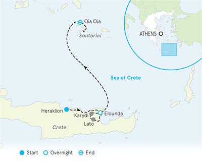 Santorini & Crete Multi-Adventure Tour Map