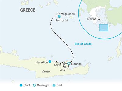 Santorini & Crete Family Multi-Adventure Tour Map