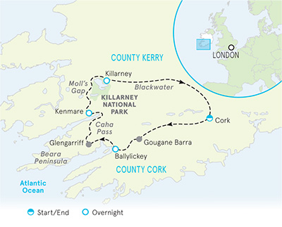 Ireland Multi-Adventure Tour Map