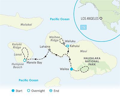 Maui and Lanai Family Multi-Adventure Tour Map