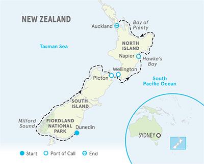 New Zealand Ocean Cruise map