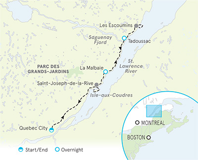Quebec Family Multi-Adventure tour Map