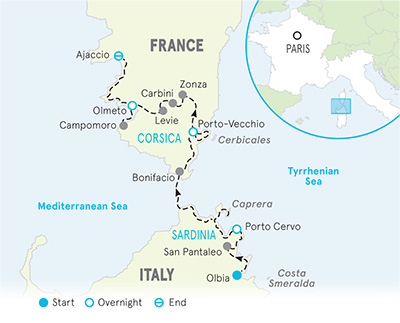 Sardinia & Corsica Walking & Hiking Tour Map