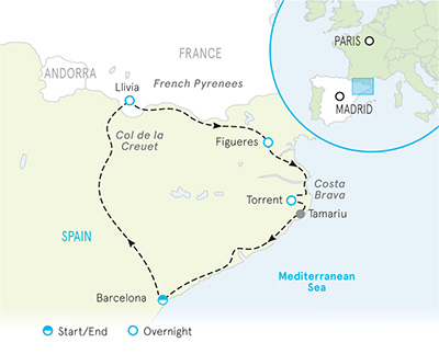Spanish Pyrenees to Costa Brava, Spain Map