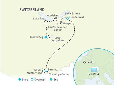 Switzerland Family Multi-Adventure Tour - 20s & Beyond Map