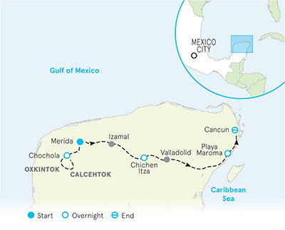 Yucatán Multi-Adventure Tour   Map