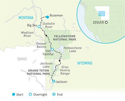 Yellowstone & Tetons Snow Adventure Tour map