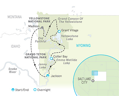 Yellowstone and Tetons Multi-Adventure Tour Map