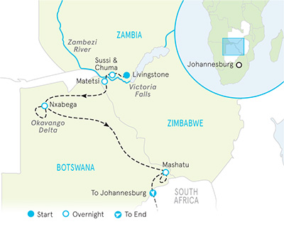Map of Zambia, Zimbabwe & Botswana