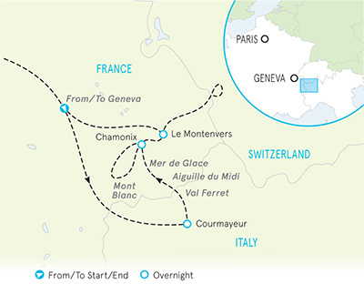 Italian, French & Swiss Alps Family Walking & Hiking Tour - 20s & Beyond map