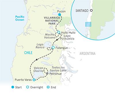 Chile Walking & Hiking Tour Map