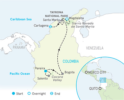 Colombia Walking and Hiking Tour Map