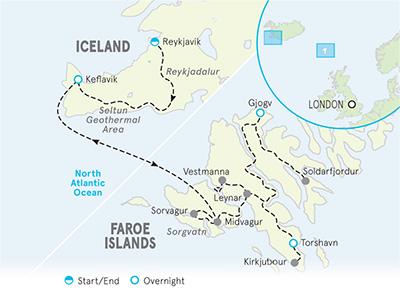 Iceland & Faroe Islands Family Walking & Hiking Tour Map
