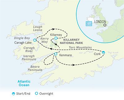 Ireland Walking and Hiking Tour map