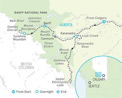 Canadian Rockies Walking and Hiking Tour Map