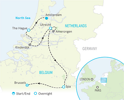 Netherlands and Belgium Family Walking and Hiking Tour Map