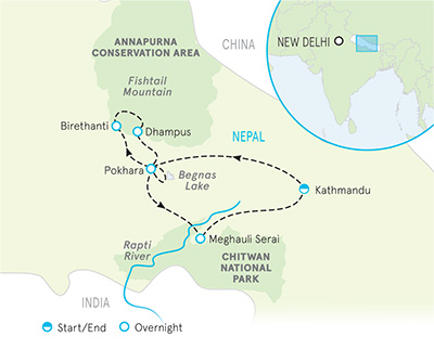 Nepal Trekking & Safari Tour Map