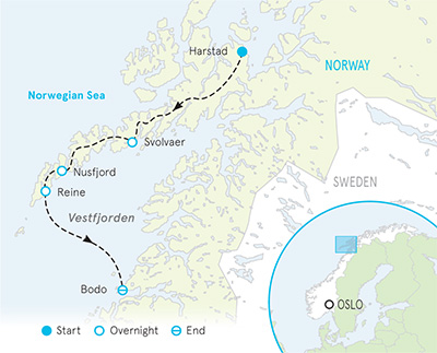 Norway's Lofoten Islands Tour map