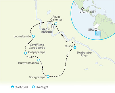 Peru Lodge-to-Lodge Family Trekking Tour - 20s & Beyond map
