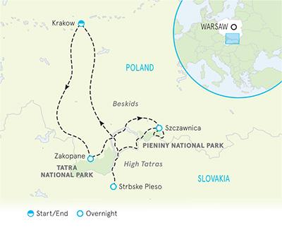 Poland & Slovakia Tour Map