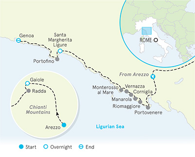 Cinque Terre & Tuscany Family Multi-Adventure Tour - Teens & Kids map