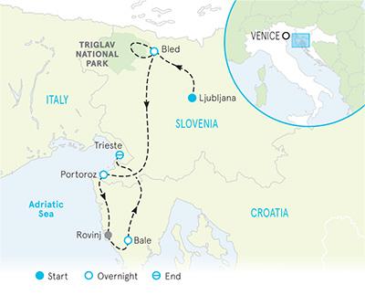 Slovenia and Croatia Hiking Tour Map