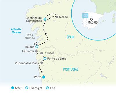 Camino de Santiago walking tour map