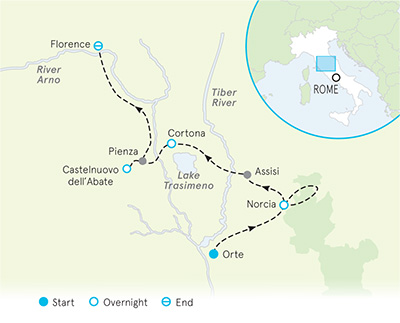Tuscany and Umbria walking tour map