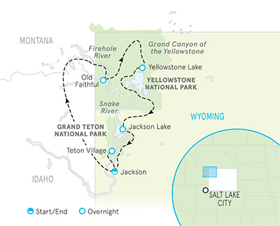 Yellowstone and Tetons Tour Map
