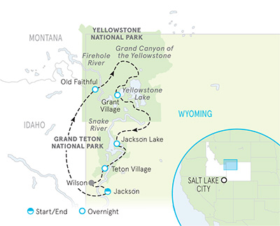 Yellowstone and Tetons Walking Tour Map