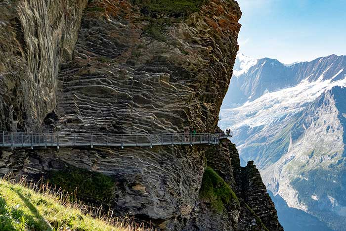 Hanging walkway on a Swiss mountainside