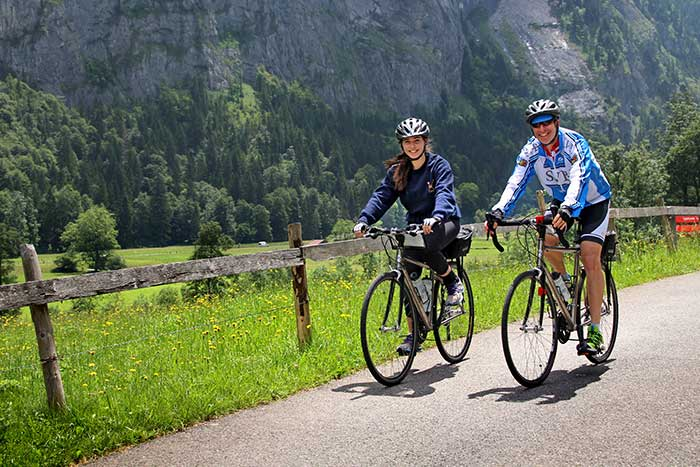 Family biking in Switzerland