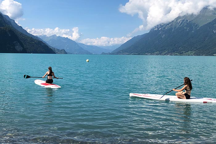 Family kayaking in Switzerland