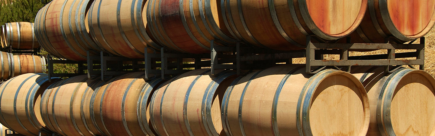 Wine barrels in Wine Country, California